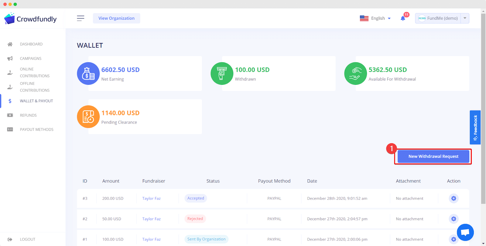 request for withdrawal