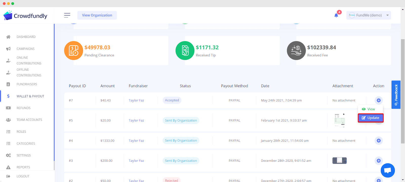 accept withdrawal requests